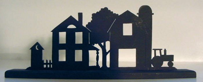 Farmstead Profile Wood Decorative Silhouette.  A Nice Gift For the Homestead.