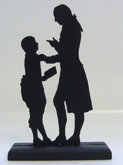 Teacher and Pupil Hand-cut Decorative Wood Silhouette Early America
