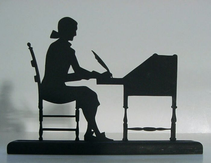 Man Writing at Desk with Quill Decorative Silhouette-Early America Era