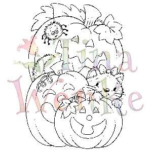 Stampavie - Tina Wenke - Kitten w/Pumpkins