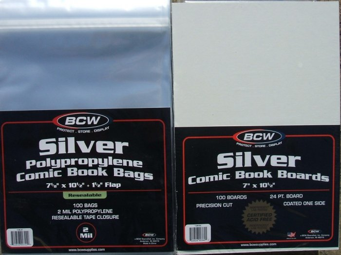 (100) BCW RESEALABLE SILVER-AGE BAGS & BACKING BOARDS