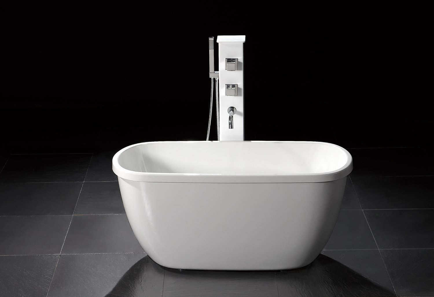 Troy 55 small modern free standing bathtub faucet for Stand up bath tub