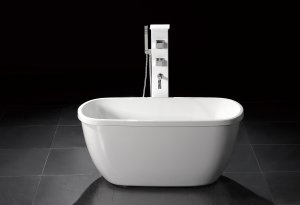 "Troy 55"" Small Modern Free Standing Bathtub & Faucet"