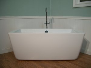"59"" Modern Free Standing Bathtub with Faucet and Drain"