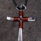 Horseshoe nail Cross with Harley striped wire