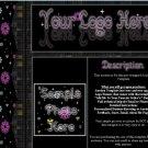 Auction Template Black & Purple Flower Side Border