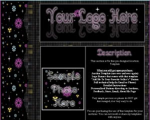 Auction Template Black & Purple Flower Side Border