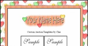 Auction Template Sweet Heart Red Yellow Green