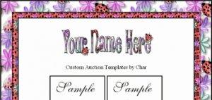 Auction Template Ladybug Purple Pink & Green Flower