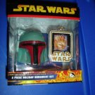 Star Wars Boba Fett Helmet 2 PC Holiday Ornaments NIB