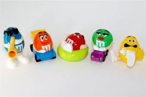 M&M candy dispensers All Colors full set of 5 ALL NEW IN BAGS