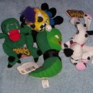 Meanies Series 1 Boris  Mucousarus, Otis  Octapunk, Fi & Do Dalmutation Dog, Snake Eyes Jake