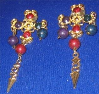 GOLD TONE Long Dangly Goth Cross Jewelled Earrings  Vintage Fashion Jewelry Jewellery