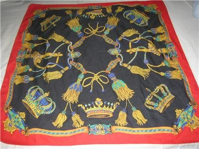 Vintage SILKY Royal CROWNS Big Square Scarf Fashion Accessories