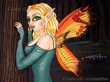 Forest Fairy Woodland Butterfly Wings Fairy Girl Big Huge Eyes Serene Fantasy Art Print