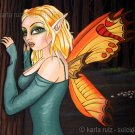 Forest Fairy Woodland Butterfly Wings Fairy Girl Big Huge Eyes Serene Fantasy Art Print
