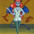 Wicked Nurse Evil Demon Zombie Nurse Girl with Syringe Horror Rockabilly Goth Gothic Art Print