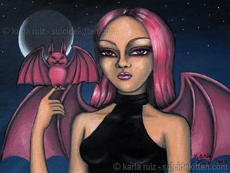 Batty and Matt Big Eyed Demon Fairy Girl with Pink Pet Bat Gothic Fantasy Art Print