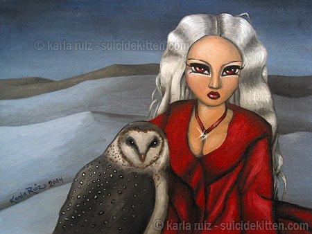 Spirit of the Order Strigiformes Big Eyed Winter Sprite Girl with Snow Owl Fantasy Art Print