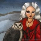 Spirit of the Order Strigiformes Big Eyed Winter Sprite Girl with Snow Owl Fantasy Art Print