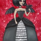 Raven Elegant Gothic Lolita Dark Angel Demon Girl Black White Gown Pet Bat Fantasy Art Print