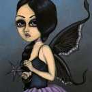 Midnight Brume Fantasy Goth Moth Big Eyed Moth Wing Girl Lavender Serene Art Print