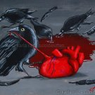 Darkness in my Heart Goth Gothic Horror Gore Black Raven Blood Heart Creepy Valentines Day Art Print
