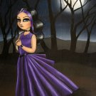 Lost Lenore Goth Gothic Maiden Girl with Purple Gown Creepy Midnight Full Moon Art Print