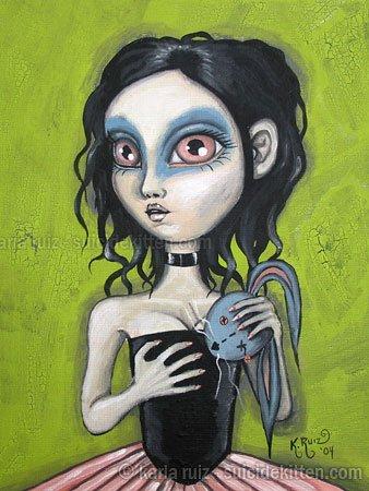 Gloomy Ghoul Kid Heather Gothic Goth Creepy Girl Big Eyes Rag Doll Bunny Head Horror Art Print