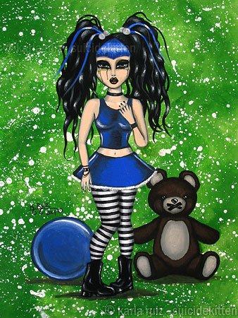 Chastity Goth Gothic Cyber Girl Big Huge Eyes Dark Art Print