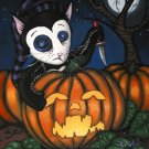 Squinty Carving Pumpkins Midnight Rag Doll Black Cat Halloween Pumpkin Jack o Lantern Goth Art Print