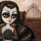 Sepia Cemetery Dream Girl With Rose Bouquet Mourning Huge Eyes Goth Gothic Art Print