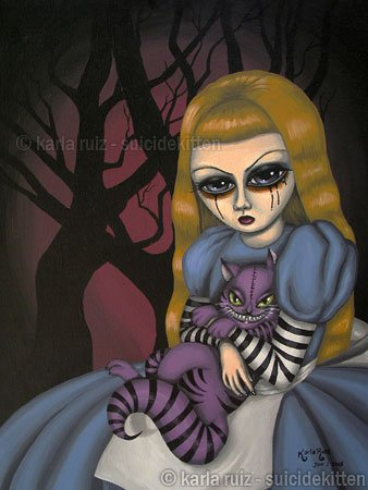 Portrait Alice and Cheshire Cat - Gothic Goth Fantasy Art Print