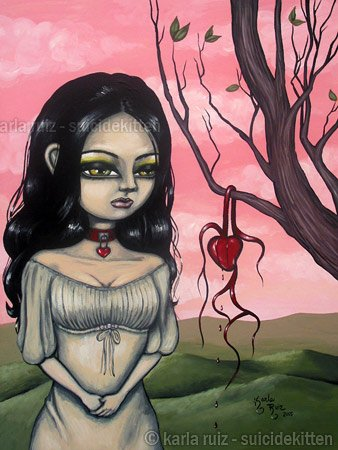 The Parching of Valentines Heart Creepy Pink Day Big Eyed Girl Red Choker Surrealist Art Print