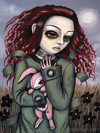 Inner Asylum Goth Gothic Crazy Asylum Girl with Pink Rag Doll Creepy Rabbit Surrealism Art Print