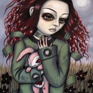 Inner Asylum Goth Gothic Crazy Asylum Girl with Pink Rag Doll Creepy Rabbit Surrealism Art Print