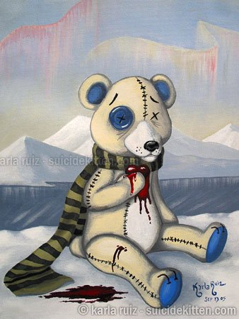 Benjamin the Polar Bear Palliative Heart Goth Gothic Rag Doll Horror Gore Surrealism Art Print