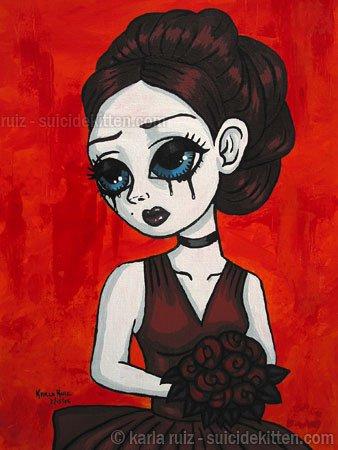 Dark Red Roses Goth Maiden Big Eyes Girl with Elegant Burgundy Rose Bouquet Gothic Art Print