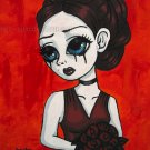 Dark Red Roses Goth Maiden Big Eyes Girl with Elegant Burgundy Rose Bouquet Gothic Art Print