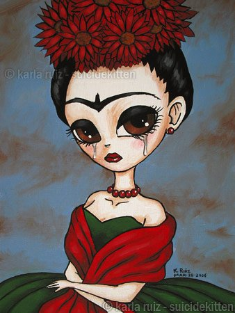 Portrait of Frida Big Eyed Frida Kahlo Traditional Green and Red Dress Flowers Gothic Goth Art Print