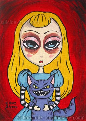Alice and Cheshire Cat - Mini Art Print