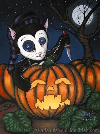 Squinty Carving Pumpkins - Mini Art Print