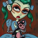 Mariana With Pet Monkey - Art Print