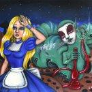 Alice an the Caterpillar - Gothic Goth Fantasy Art Print