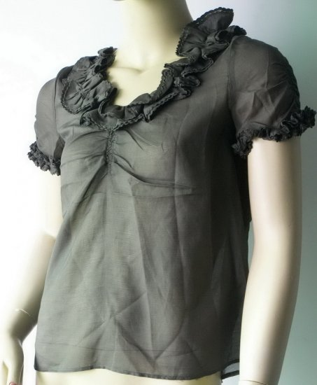 marc by marc jacobs brown lace sleeve top 2#