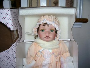 "Sarah Beth Porcelain Doll by Kathy Smith Fitzpatrick NIB! 22"" TALL"