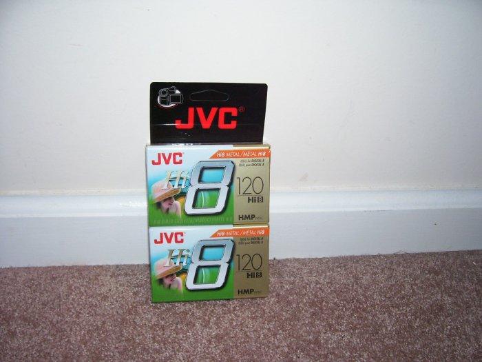 JVC Hi8 METAL120 MIN ~ 2 PACK ~ VIDEO TAPES ~NEW!~