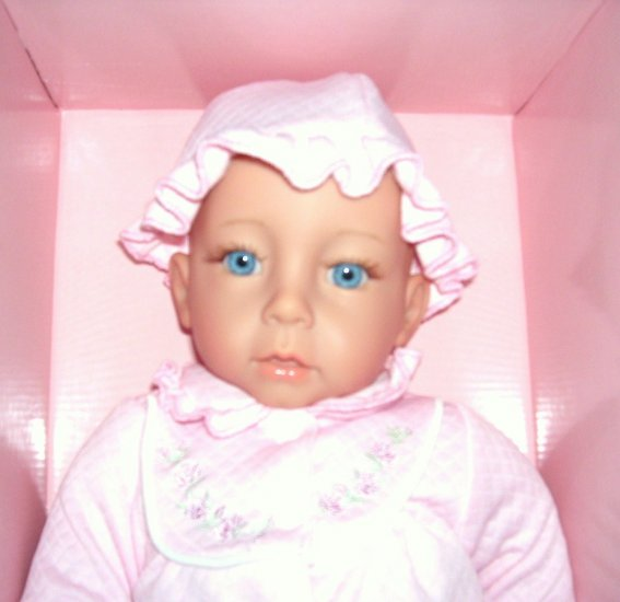 """BELLINI * JOINTED * VINYL BABY DOLL in PINK Outfit NIB! 18"""" RARE! FOR REBORN"""