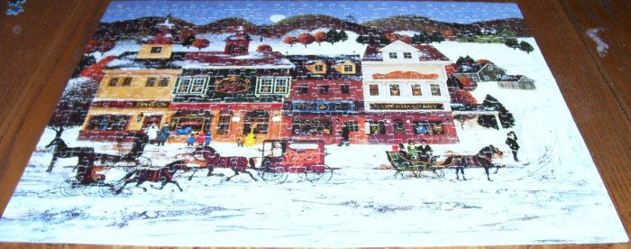 WINTER VILLAGE JIGSAW PUZZLE * GOOD CONDITION! * 100% COMPLETE! 1978