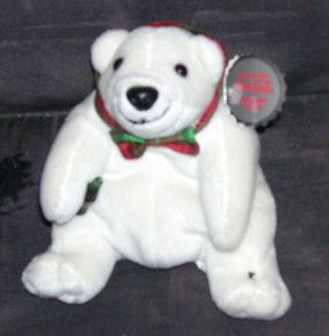 Coca Cola POLAR BEAR in Plaid Bow Tie Plush NWT 1997 7""